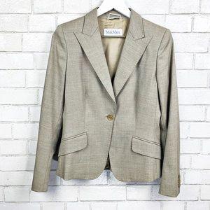 MaxMara Taupe Wool Blend Blazer Sz 8